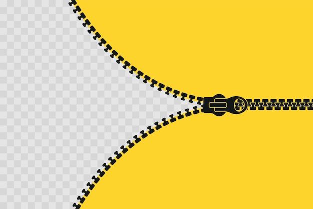 ジッパーバナーテンプレート。ジッパーを開きます。あなたのデザインの空のポスター。図。