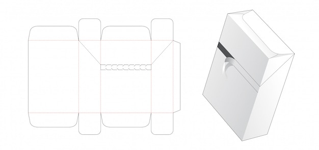 Zipper box die cut template