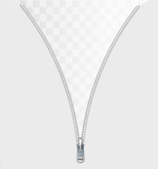 Zipper concept as an open interlocking metal fastener on clothing or garment textile as a symbol for revealing a message or discovery isolated on a white blank background.