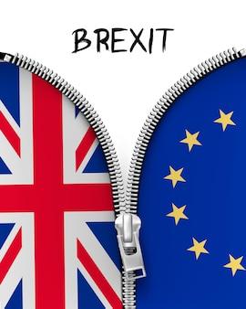 Застежка-молния, разделяющая великобританию и ес в концепции brexit. вектор.