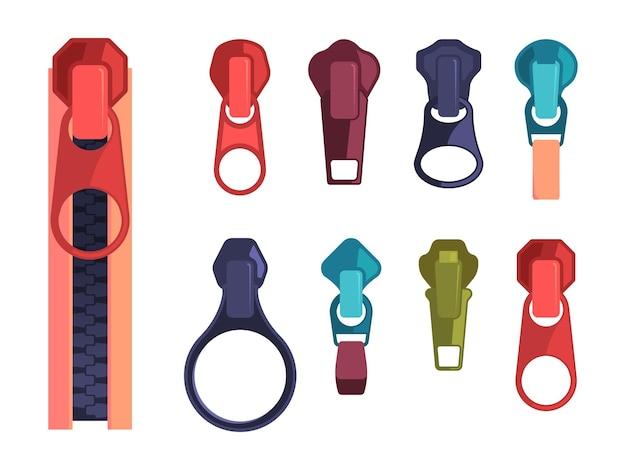 ジッパー。ジッパー式装飾テキスタイル服のファッションスチールカラーアイテム。