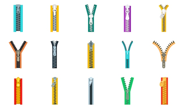 Zipper icon set