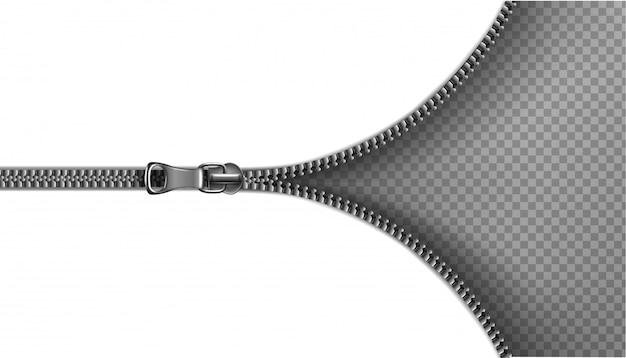 ジッパー、開いた背景。透明な背景のイラスト。