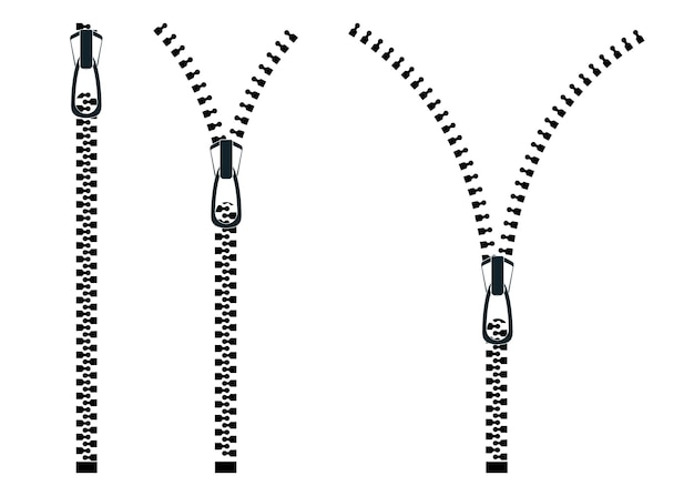 Zippers. set of close and open zip with fastener. zipper buttoned, lock and unlock. vector illustration