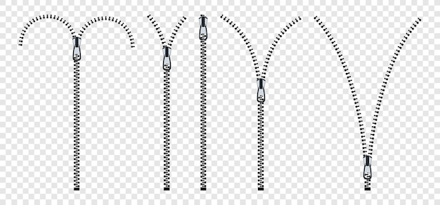 Zippers. set of close and open zip with fastener.