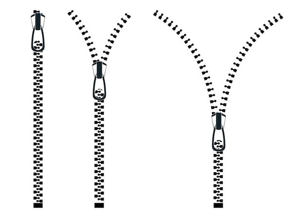 ジッパー。ファスナー付きの開閉ジッパーのセット。ボタン付きのジッパー、ロックとロック解除。ベクトルイラスト