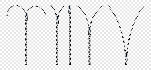 ジッパー。ファスナー付きの開閉ジッパーのセット。