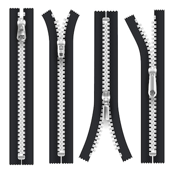 Zippers with silver zip puller hasp, open and closed isolated realistic apparel elements. black zipper with metallic silver teeth and hasp, unzip lock with pull clasp, tailor accessory
