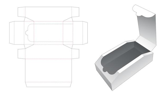 Zipping chest shaped box die cut template
