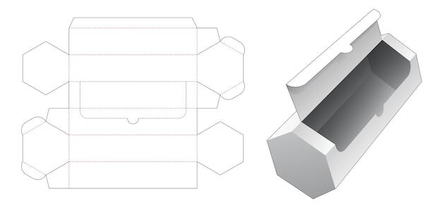 長い六角形のパッケージボックスのダイカットテンプレートを圧縮します