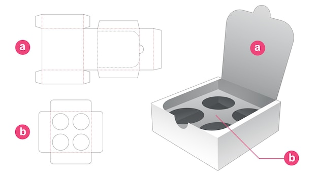 Zipping packaging box with insert supporter die cut template