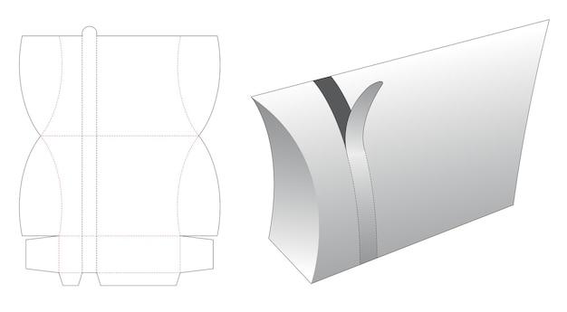 Zipping pillow packaging die cut template