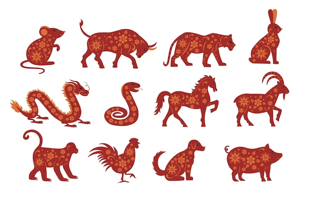 Zodiac animals for chinese new year. mouse, bull, tiger, rabbit, dragon, snake, horse, goat, monkey, chicken, dog, pig.  illustrations.