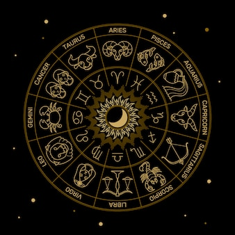Zodiac astrology horoscope illustration gold line on black minimal style.