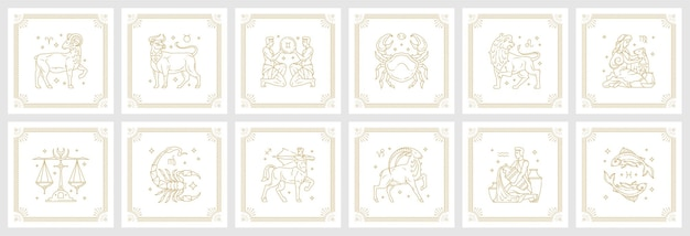 Zodiac astrology horoscope signs linear design vector illustrations set