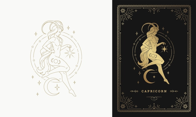 Zodiac capricorn girl character horoscope sign line art silhouette design illustration