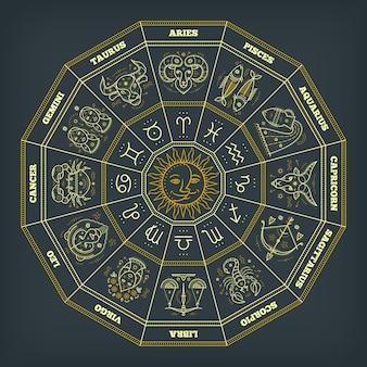 Зодиакальный круг со знаками гороскопа. тонкая линия . символы астрологии и мистические знаки.
