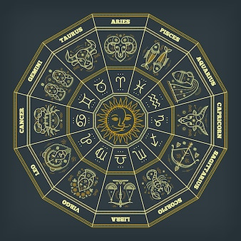 Zodiac circle with horoscope signs. thin line  . astrology symbols and mystic signs.