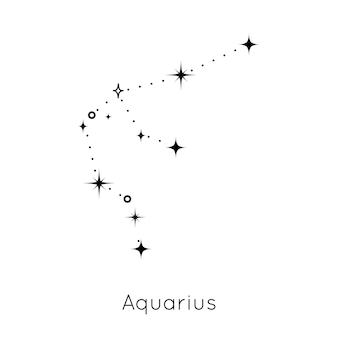 흰색 배경 벡터에 조디악 별자리 기호 물병자리 점성술 별자리 기호