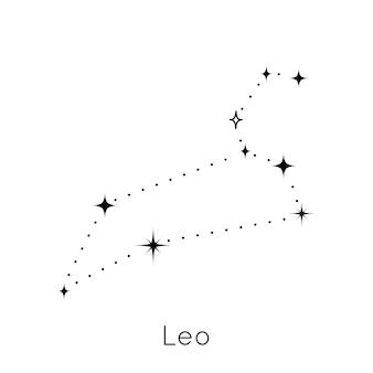 흰색 배경 벡터에 조디악 별자리 기호 레오 점성술 별자리 기호