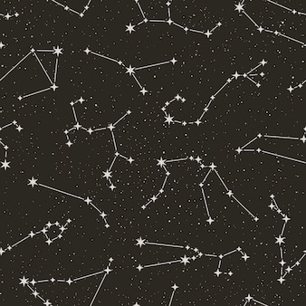Zodiac constellations seamless pattern on the starry black background in minimal trendy style. vector space astrology backdrop. horoscope symbols texture.