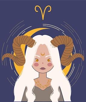 Zodiac girl aries  illustration. astrology illustration.