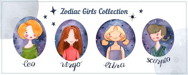 Zodiac girls horoscope signs isolated watercolor elements set with lettering