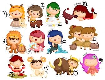Zodiac Horoscope Vector Set