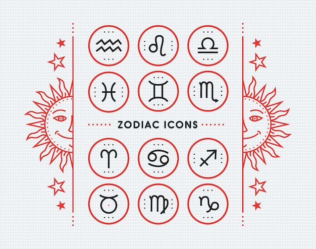 Zodiac icon collection. sacred symbols set. vintage style  elements of horoscope and astrology purpose. thin line signs  on bright dotted background.  collection.