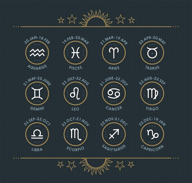 Zodiac icon collection. sacred symbols set. vintage style  elements of horoscope and astrology purpose. thin line signs  on dark dotted background.  collection.