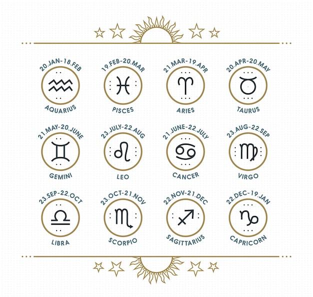 干支のアイコンのコレクション。神聖なシンボルセット。星占いと占星術の目的のビンテージスタイルの要素。細い線は明るい点線の背景に署名します。コレクション。