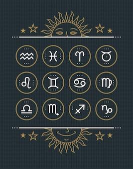 Коллекция иконок зодиака. набор священных символов. винтажные элементы стиля гороскопа и цели астрологии. знаки тонкой линии на темном фоне. коллекция.