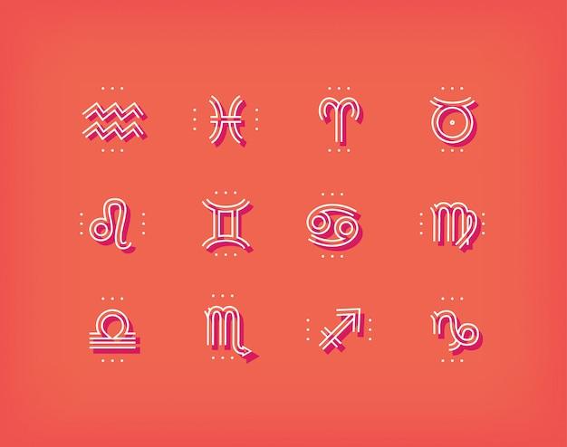 干支のアイコン。神聖なシンボル。占星術の兆候。ヴィンテージの細い線のコレクション。暗い背景に。