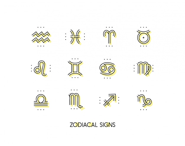Zodiac icon. sacred symbols. astrology signs. vintage thin line  collection.  on white background.