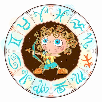 Zodiac for kids. sagittarius. cute style.