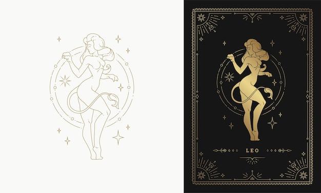 Знак зодиака лев девушка персонаж гороскоп знак линии искусства силуэт дизайн иллюстрация