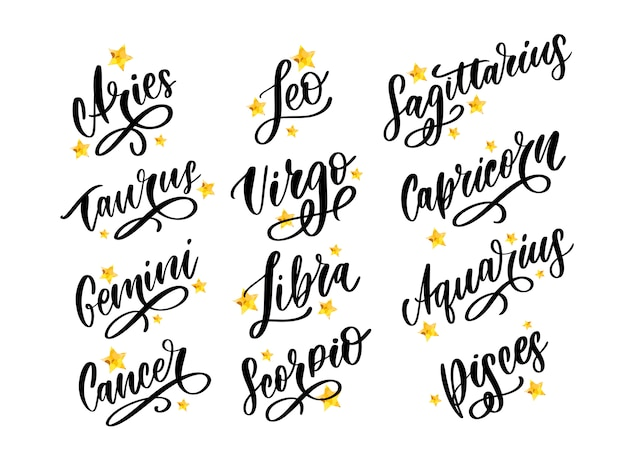Zodiac lettering  horoscope set.
