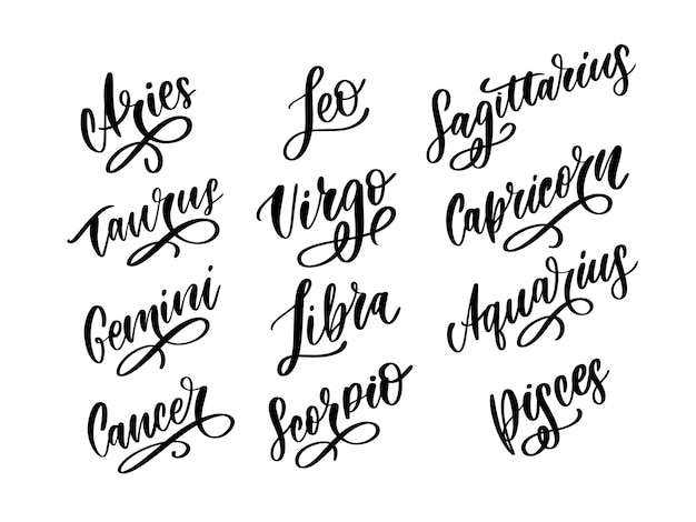 Zodiac lettering sign, horoscope handwritten set