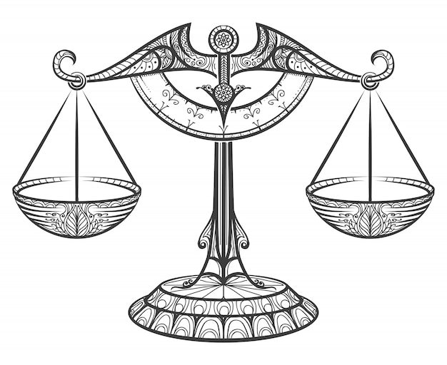 Zodiac libra drawn in zentangle style