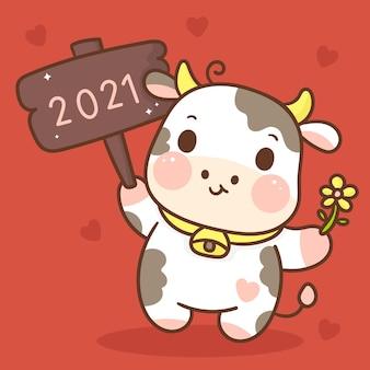 Зодиак быка мультипликационный персонаж. с китайским новым годом 2021