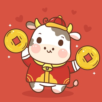 Zodiac of ox cartoon holding gold coin animal character. happy chinese new year 2021