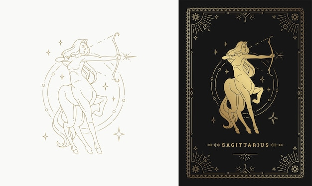 Zodiac sagittarius girl character horoscope sign line art silhouette design illustration