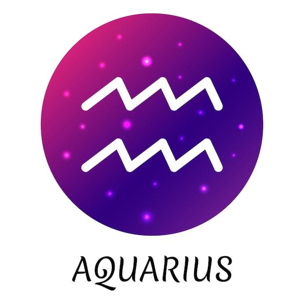 Знак зодиака водолей изолированы векторный icon символ зодиака со звездным градиентным дизайном
