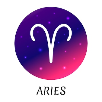 Знак зодиака овен изолированы векторный icon символ зодиака со звездным градиентным дизайном