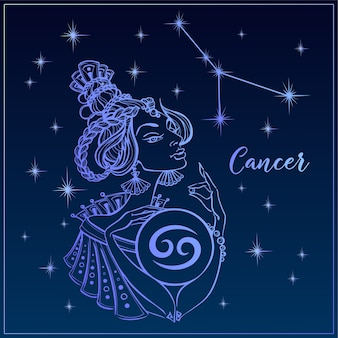 Zodiac sign cancer as a beautiful girl. the constellation of cancer. Premium Vector