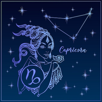 Zodiac sign capricorn a beautiful girl. the constellation of capricorn.