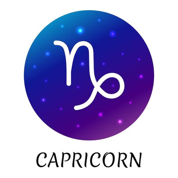 Знак зодиака козерог изолированы векторный icon символ зодиака со звездным градиентным дизайном