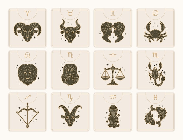 Zodiac sign collection hand drawn