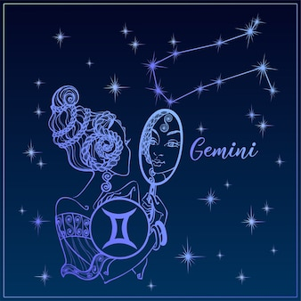 Zodiac sign gemini a beautiful girl. the constellation of gemini.