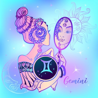 Zodiac sign gemini beautiful girl